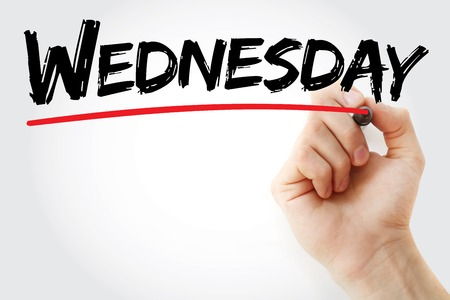 wednesday: Hand writing Wednesday with marker, concept background