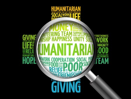 humanitarian: Humanitarian word cloud with magnifying glass, cross concept 3D illustration