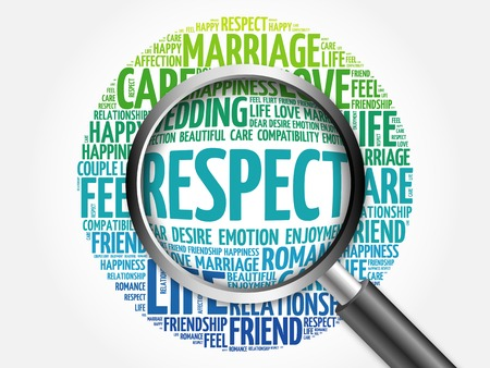 simplify: Respect word cloud with magnifying glass, social concept 3D illustration Stock Photo