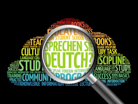 Sprechen Sie Deutch? (Do you speak German?) word cloud with magnifying glass, education concept 3D illustration