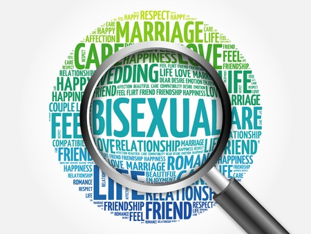 bisexual: Bisexual word cloud with magnifying glass, business concept 3D illustration