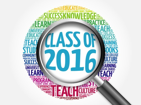 CLASS OF 2016 word cloud with magnifying glass, concept 3D illustration