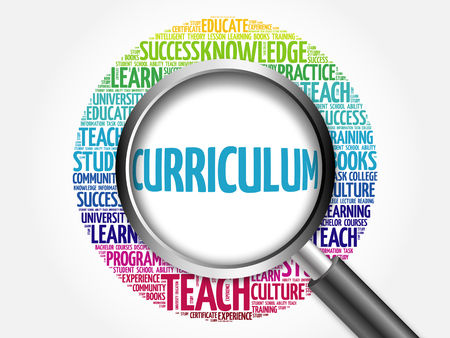 book reviews: CURRICULUM word cloud with magnifying glass, concept 3D illustration