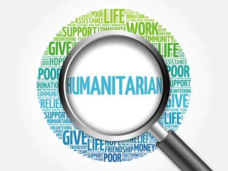 humanitarian: Humanitarian word cloud with magnifying glass, social concept 3D illustration Stock Photo