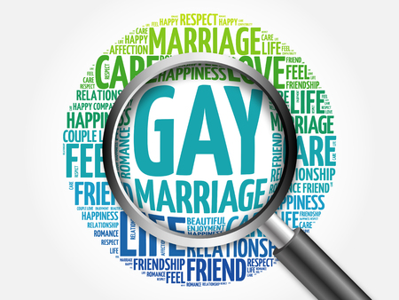 gay marriage: Gay marriage word cloud with magnifying glass, business concept 3D illustration
