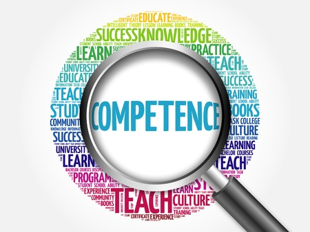 competence: COMPETENCE word cloud with magnifying glass, concept 3D illustration