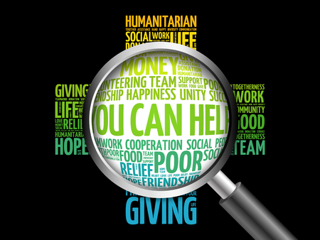 together voluntary: You can help word cloud with magnifying glass, cross concept 3D illustration Stock Photo
