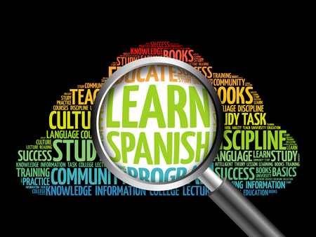 talking dictionary: Learn Spanish word cloud with magnifying glass, education concept 3D illustration
