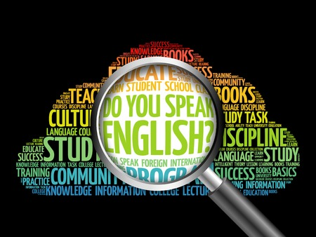 Do You Speak English? word cloud with magnifying glass, education concept 3D illustration