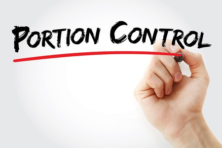 a portion: Hand writing Portion Control with marker, concept background Stock Photo