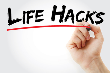 Hand writing Life Hacks with marker, concept background Stok Fotoğraf