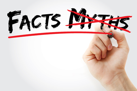 exactitude: Hand writing Facts Myths with marker, concept background Stock Photo