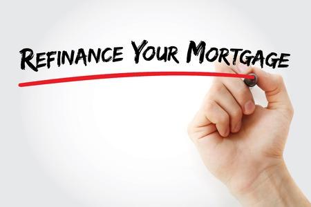 Handschrift Refinanzierung Ihrer Hypothek mit Marker, Konzept-Hintergrund Standard-Bild