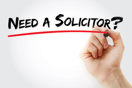 solicitor: Hand writing Need a Solicitor with marker, concept background