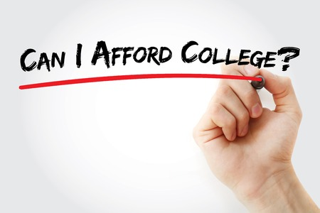 afford: Hand writing Can I Afford College? with marker, concept background