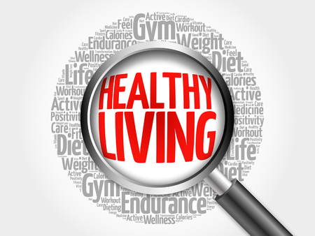 positive energy: Healthy Living word cloud with magnifying glass, health concept 3D illustration