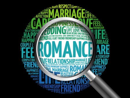 romance: Romance word cloud with magnifying glass, social concept 3D illustration Stock Photo