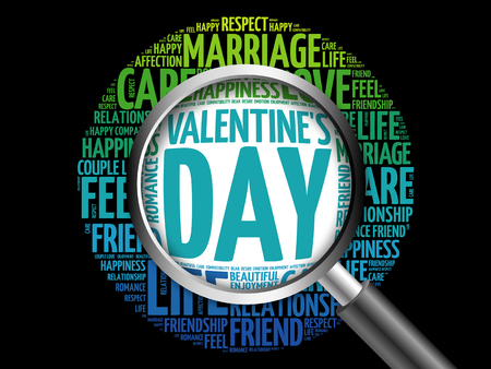 Valentines Day word cloud with magnifying glass, social concept 3D illustration