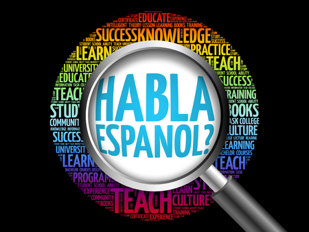 different courses: Habla Espanol? (Speak Spanish?) word cloud with magnifying glass, education concept 3D illustration