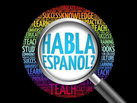 Habla Espanol? (Speak Spanish?) word cloud with magnifying glass, education concept 3D illustration