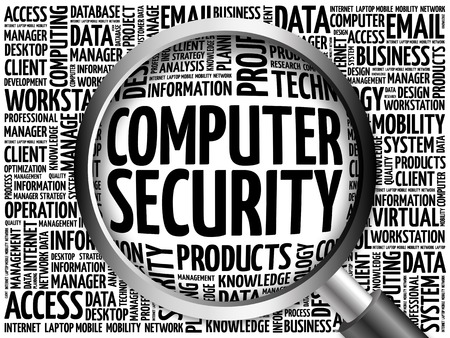 vulnerable: COMPUTER SECURITY word cloud with magnifying glass, business concept 3D illustration Stock Photo