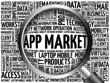os: APP Market word cloud with magnifying glass, business concept 3D illustration