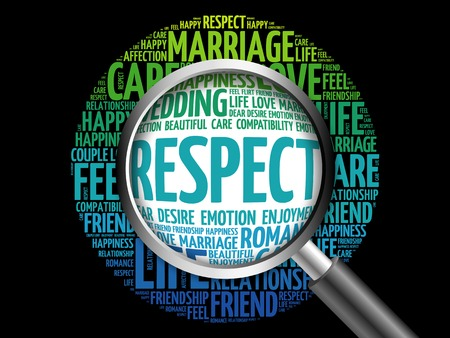 Respect word cloud with magnifying glass, social concept 3D illustration Stock Photo