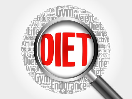 DIET word cloud with magnifying glass, health concept 3D illustration Stock Photo