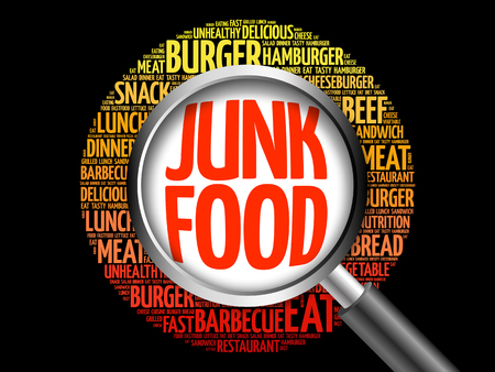 carbohydrate: JUNK FOOD word cloud with magnifying glass, food concept 3D illustration