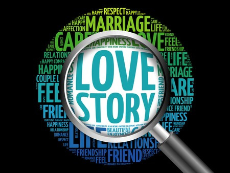 Love Story word cloud with magnifying glass, social concept 3D illustration Stock Photo