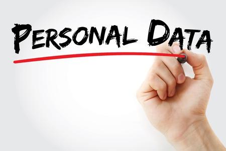 datos personales: Dé la escritura de los datos personales con el marcador, el concepto de fondo