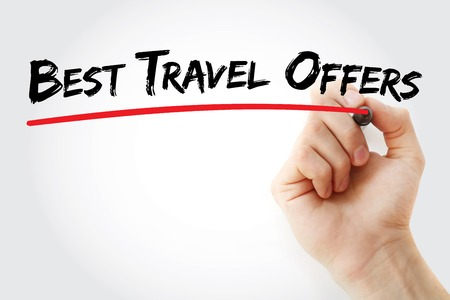 Hand writing Best Travel Offers with marker, concept background