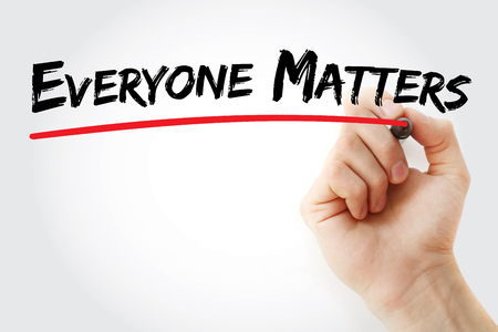 matters: Hand writing Everyone Matters with marker, concept background Stock Photo