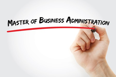 business administration: Hand writing Master of Business Administration with marker, concept background