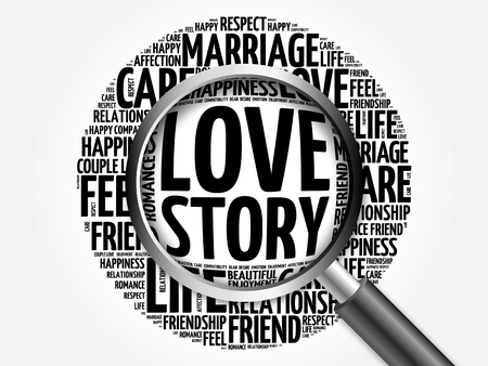 dinner date: Love Story word cloud with magnifying glass, social concept 3D illustration Stock Photo