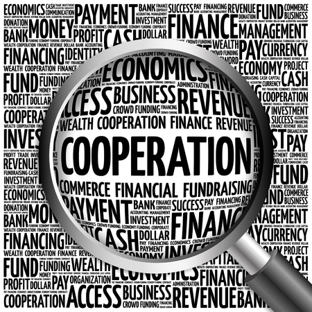 intentional: COOPERATION word cloud with magnifying glass, business concept 3D illustration