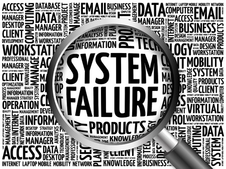 fiasco: System Failure word cloud with magnifying glass, business concept 3D illustration