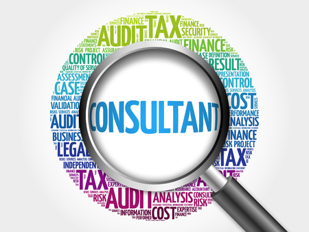 financial advice: CONSULTANT word cloud with magnifying glass, business concept 3D illustration Stock Photo