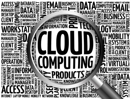 Cloud Computing word cloud with magnifying glass, business concept 3D illustration