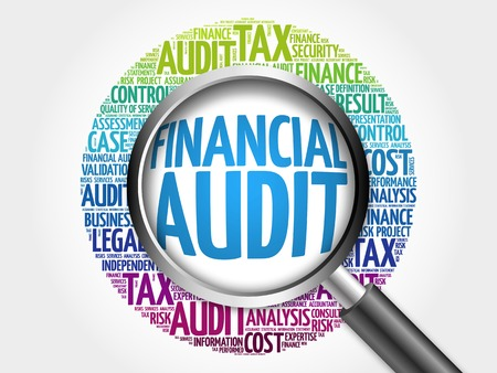 governing: Financial Audit word cloud with magnifying glass, business concept 3D illustration Stock Photo