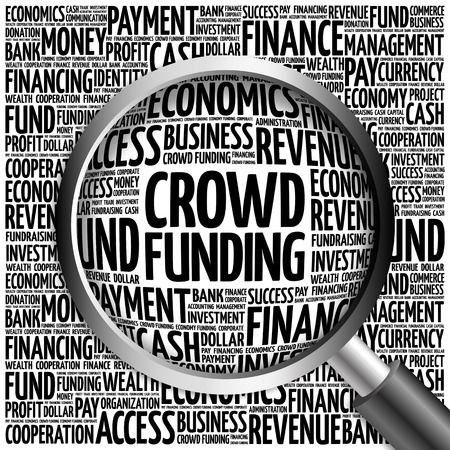 initiator: CROWD FUNDING word cloud with magnifying glass, business concept 3D illustration