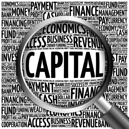 ownership equity: CAPITAL word cloud with magnifying glass, business concept 3D illustration