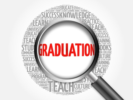 college student: GRADUATION word cloud with magnifying glass, concept 3D illustration Stock Photo