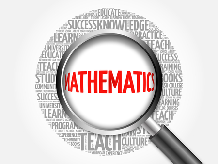 mathematician: Mathematics word cloud with magnifying glass, concept 3D illustration