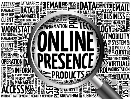 web presence internet presence: Online Presence word cloud with magnifying glass, business concept 3D illustration