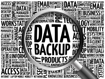 data backup: Data Backup word cloud with magnifying glass, business concept 3D illustration Stock Photo