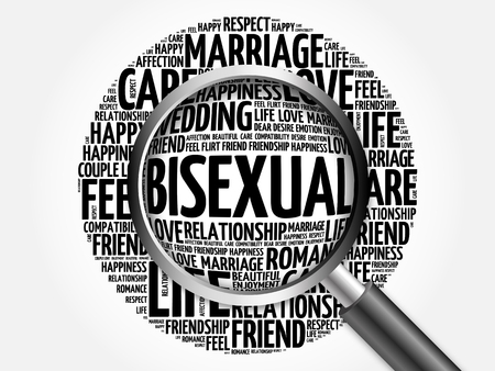 bisexuality: Bisexual word cloud with magnifying glass, business concept 3D illustration