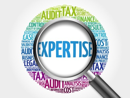 expertise concept: EXPERTISE word cloud with magnifying glass, business concept 3D illustration