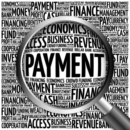 downpayment: PAYMENT word cloud with magnifying glass, business concept 3D illustration Stock Photo
