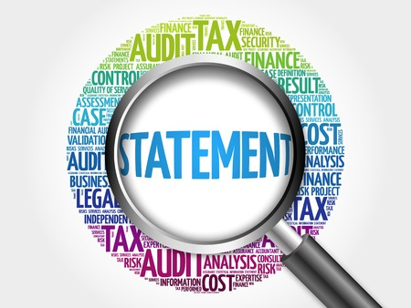 tax accountant: STATEMENT word cloud with magnifying glass, business concept 3D illustration